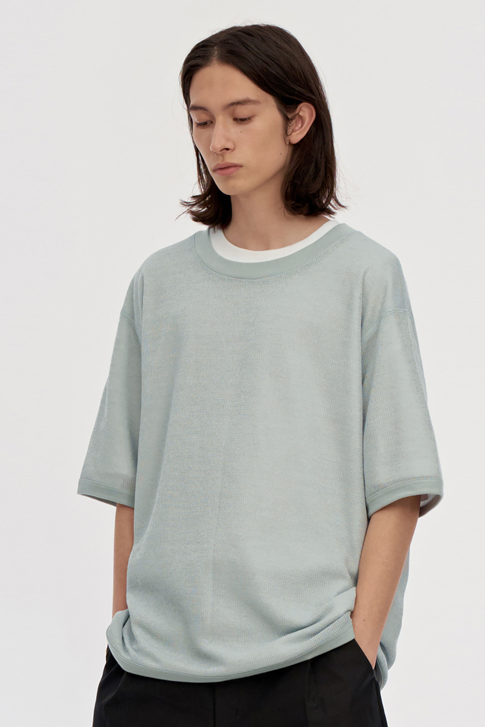 Oversized Mesh Tee Men [Light Green]