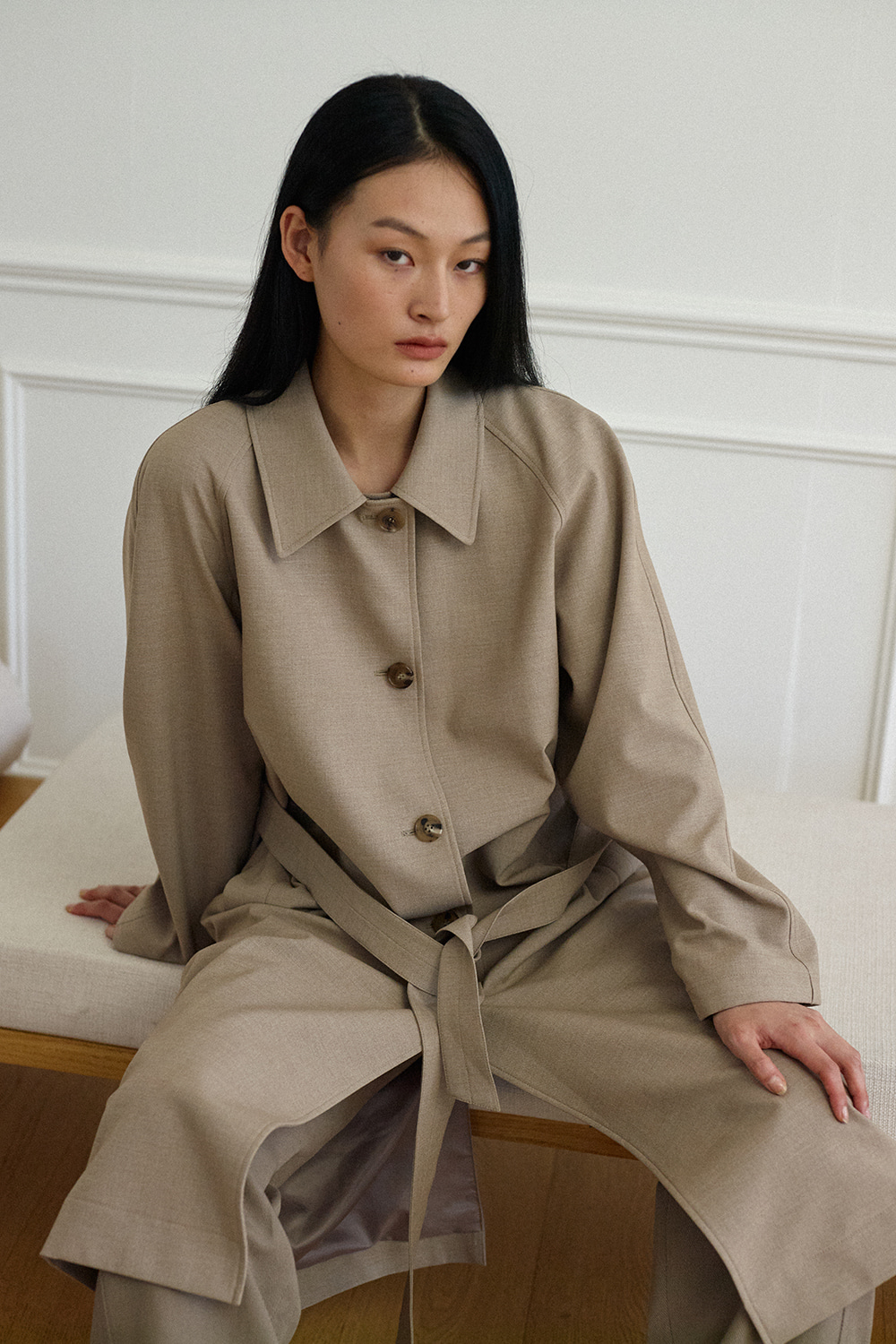 Over Trench Coat Women JA [Sand Beige] -10%