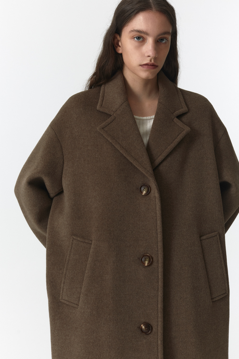 Over Coat Women JA [Melange Brown]