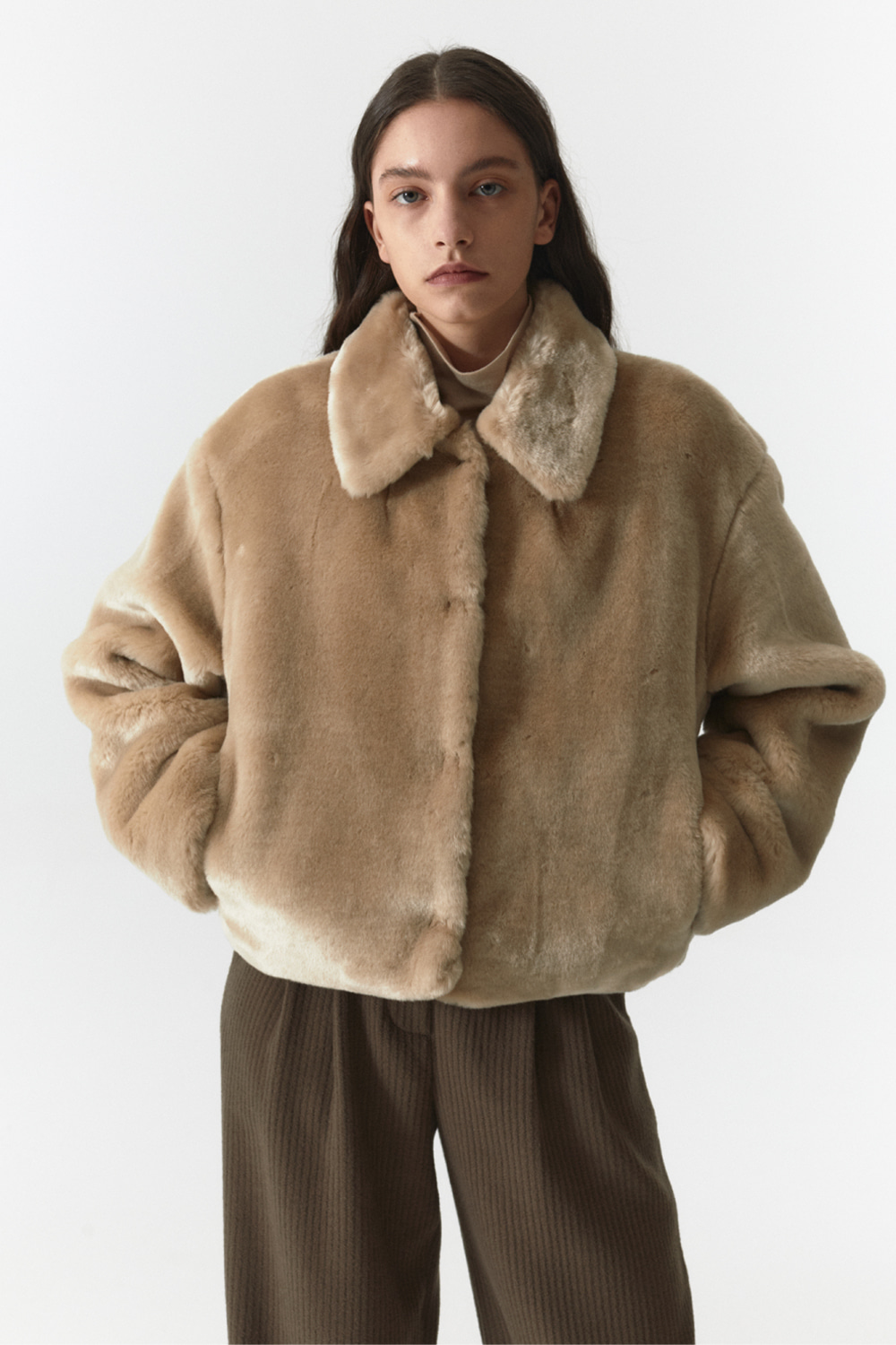 Fur Crop Jacket Women JA [Sand Beige]