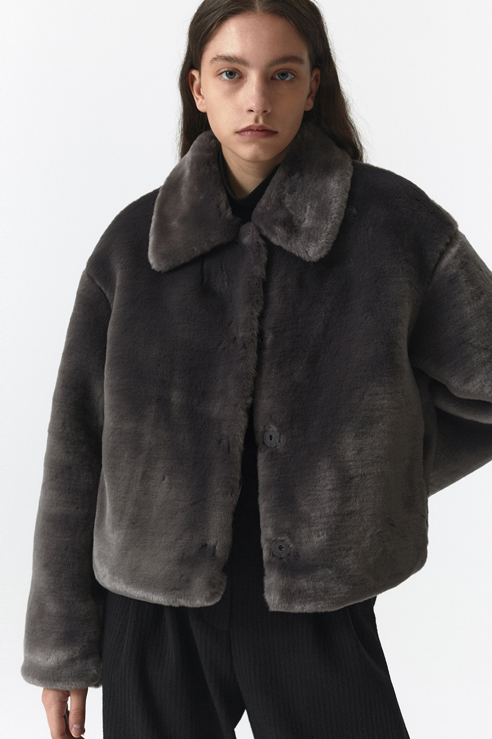 Fur Crop Jacket Women JA [Charcoal Gray]
