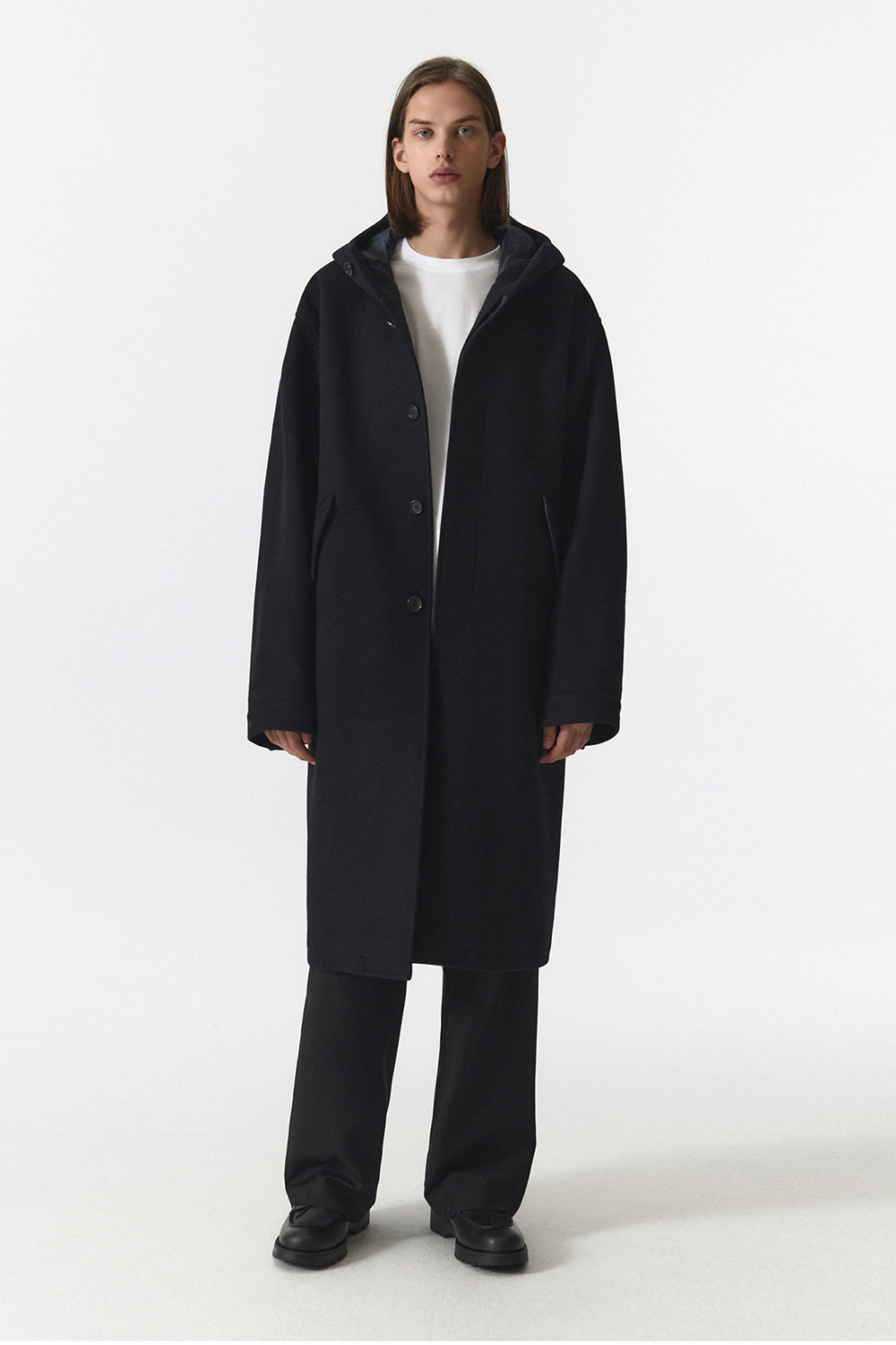 Wool Hooded Coat Men JA [Navy]