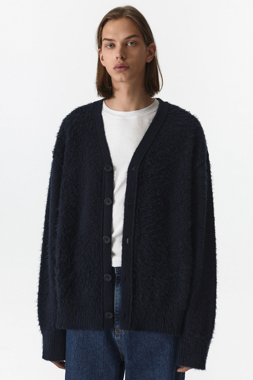 Mohair Cardigan Men JA [Navy]