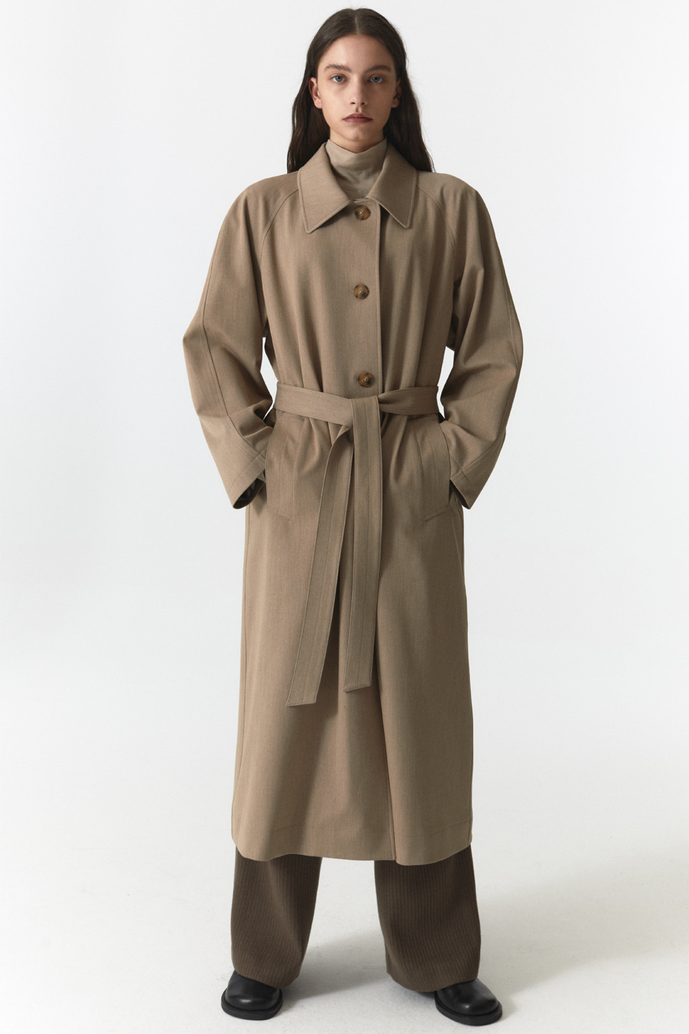 Over Trench Coat Women JA [Sand Beige]