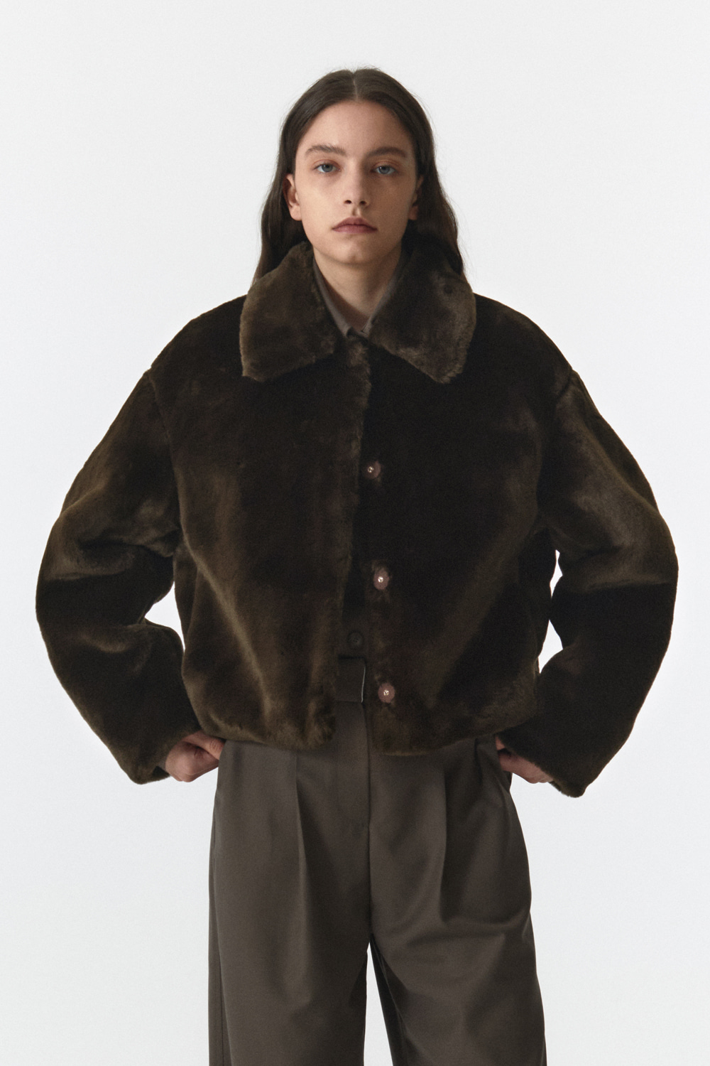 Fur Crop Jacket Women JA [Deep Brown]