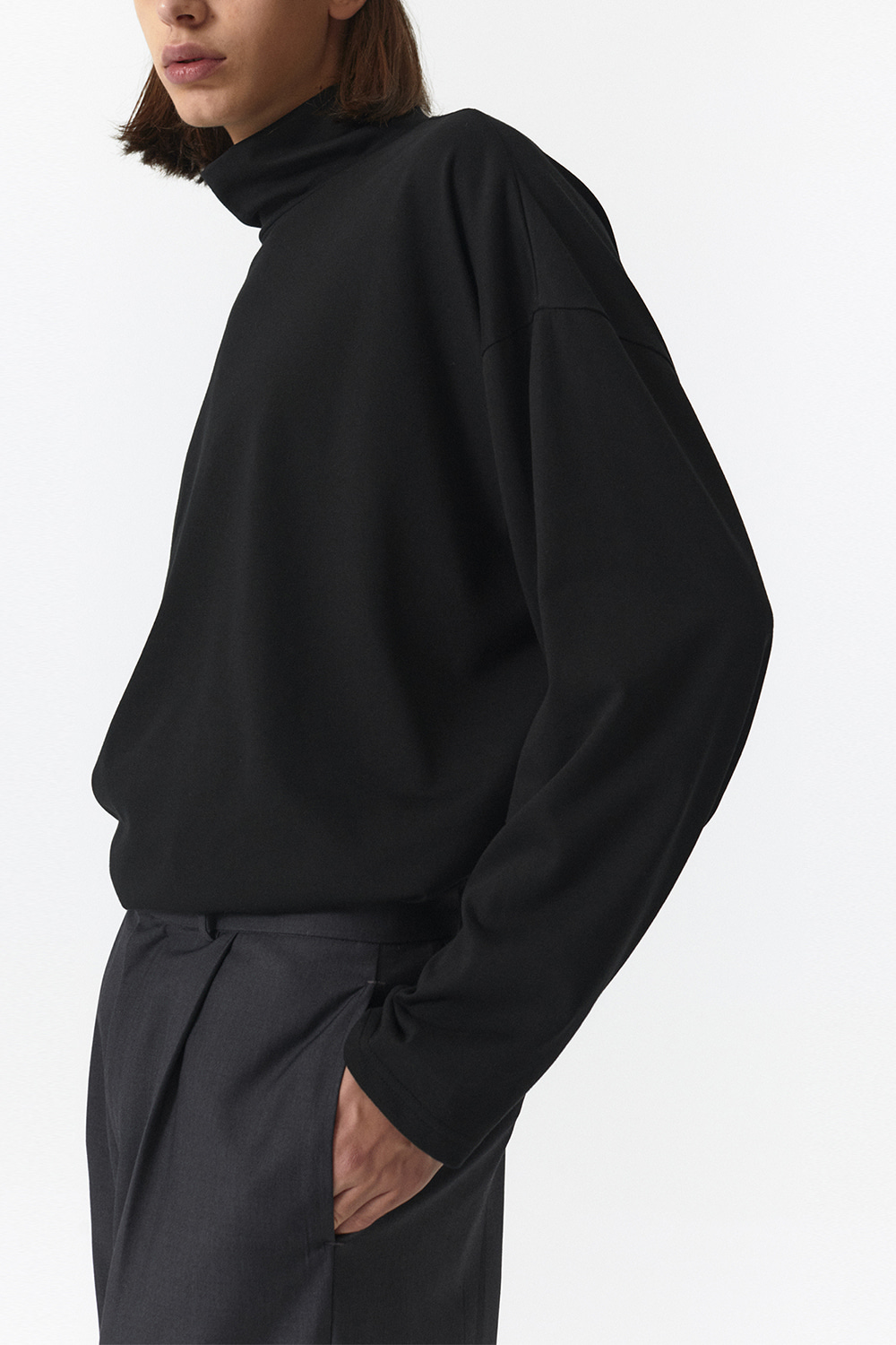 Turtle Neck Long Sleeves Men JA [Black]