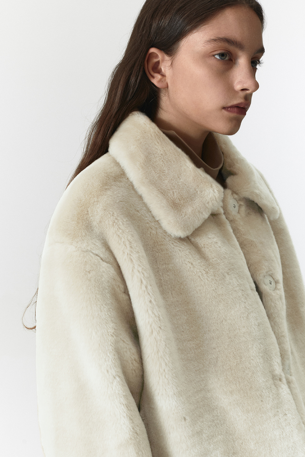Fur Crop Jacket Women JA [Ivory]