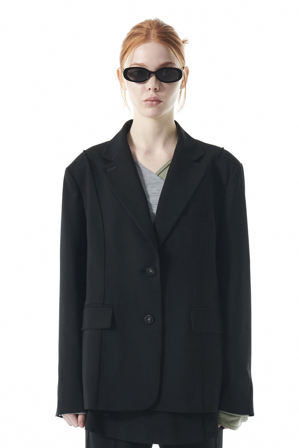 CUT OFF SINGLE BLAZER KS [BLACK]