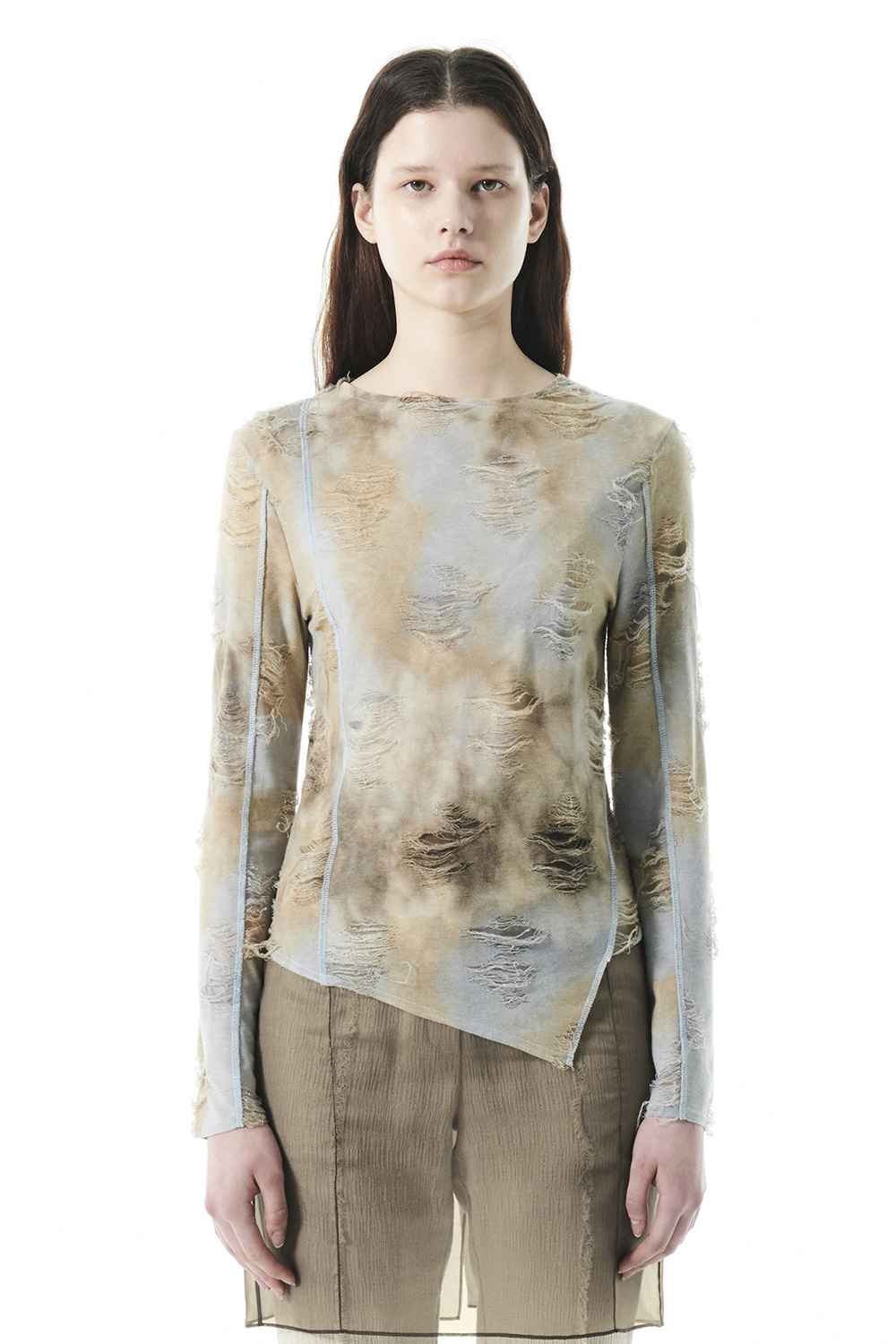 DYEING DAMAGE UNBALANCED TOP KS [MIX BEIGE]