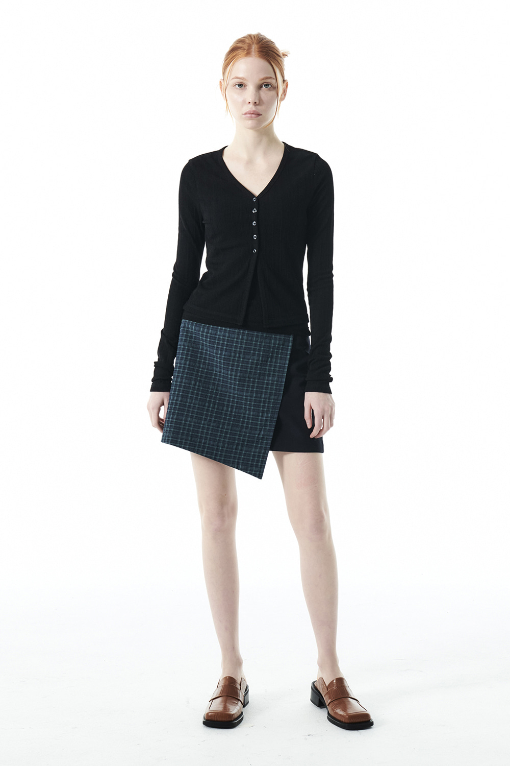 CHECK WRAP MINI SKIRT KS [NAVY]