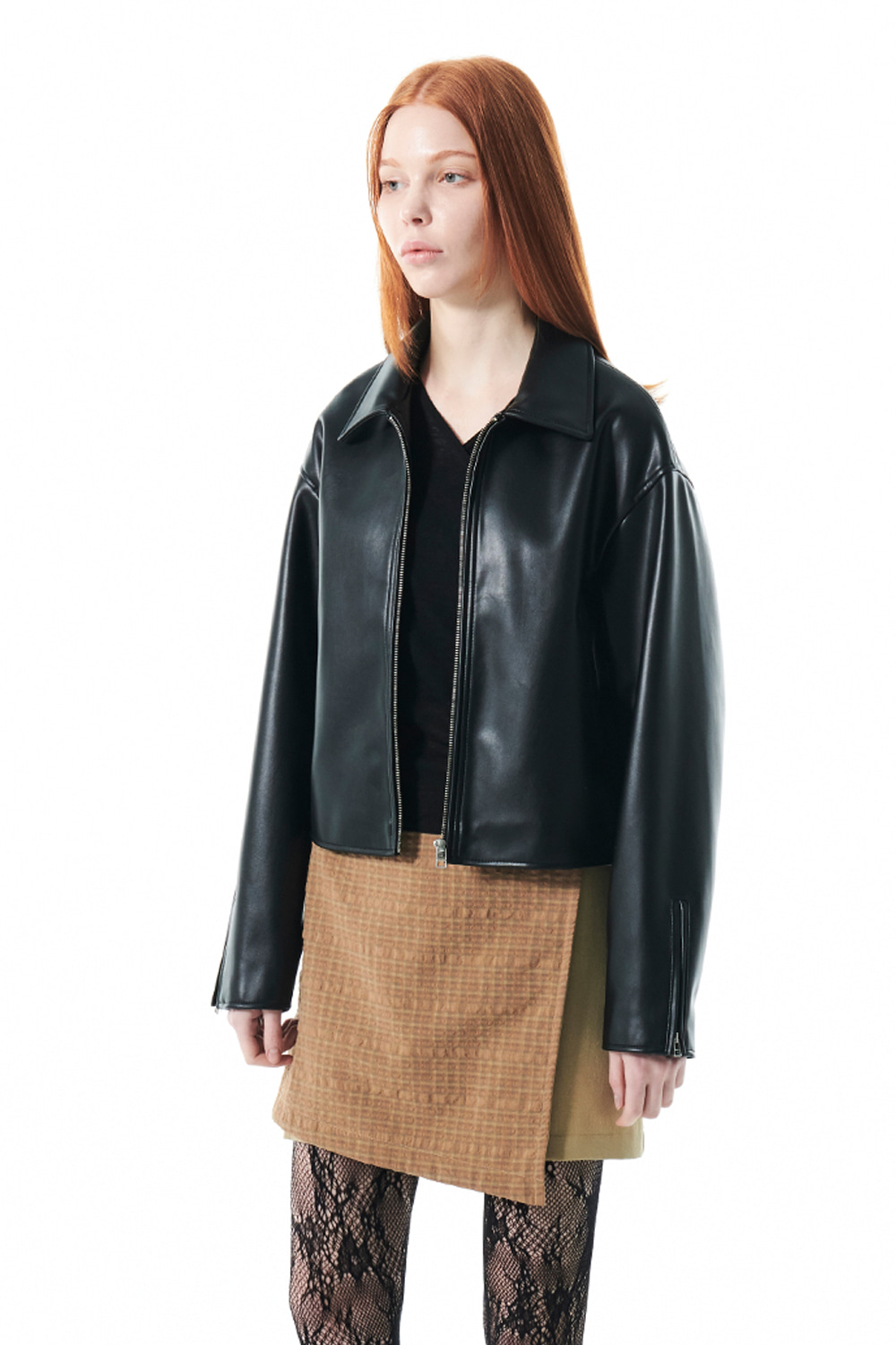 SINGLE LEATHER JACKET KS [BLACK]