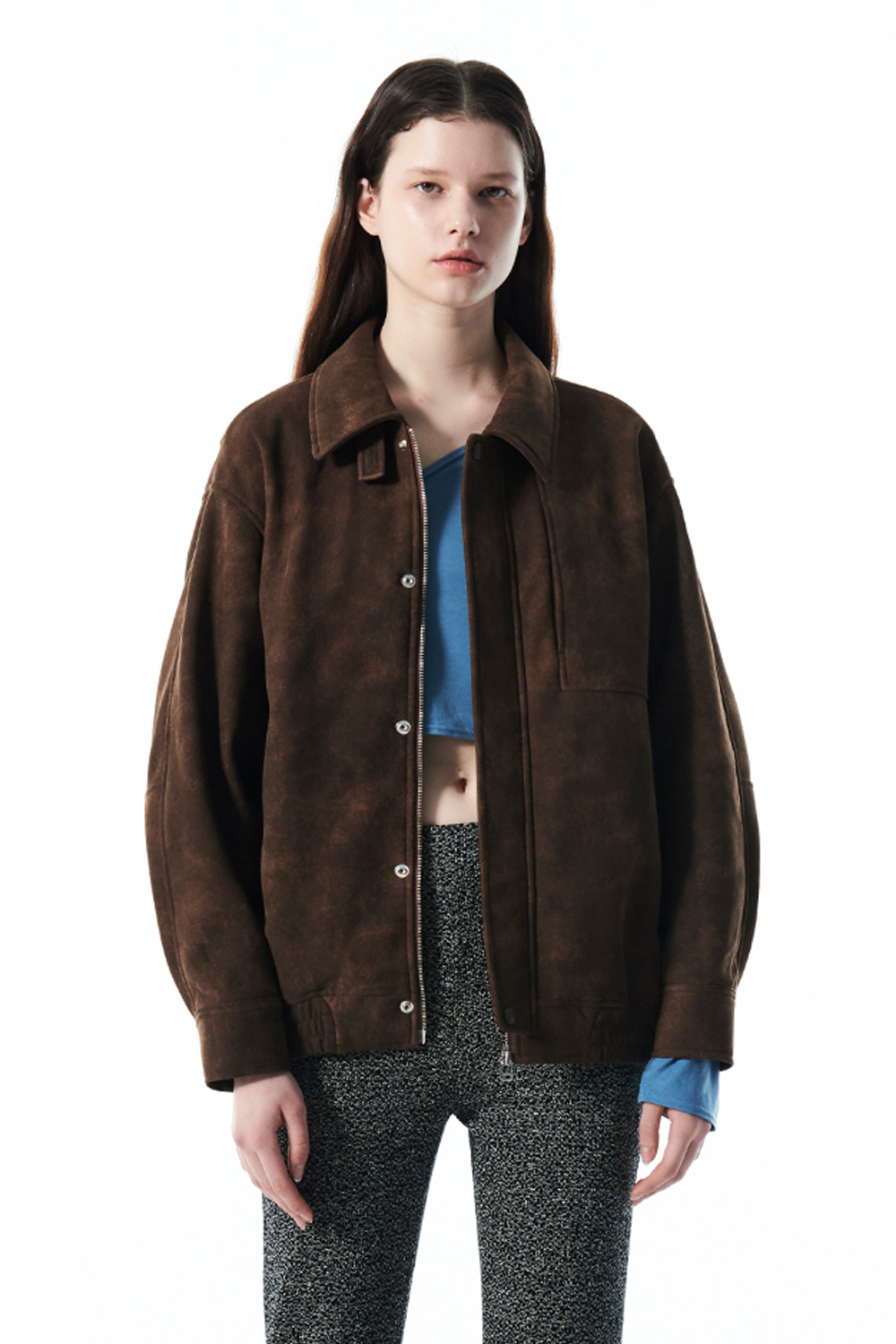 VINTAGE SUEDE BOMBER JACKET KS [BROWN]