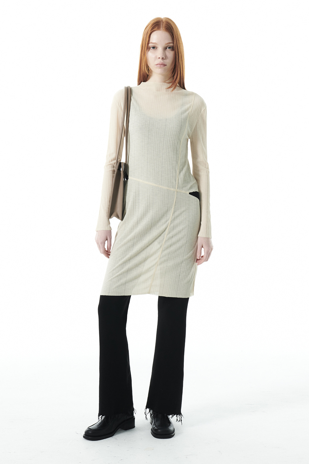 SEAMLINE SHEER LAYERED DRESS KS [BEIGE]