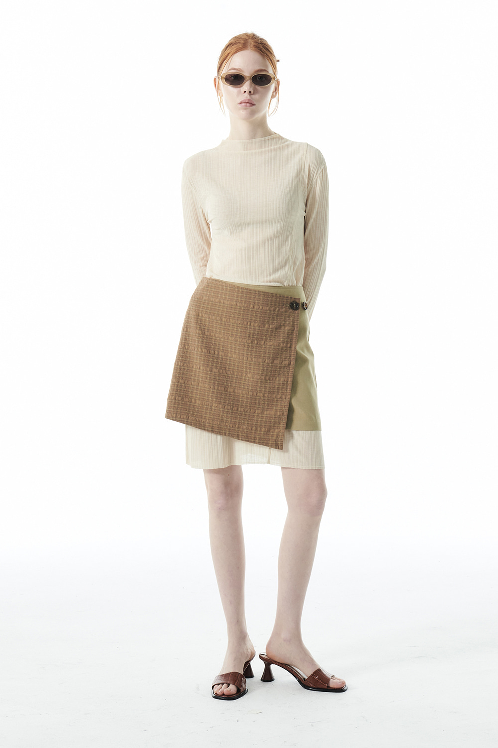 CHECK WRAP MINI SKIRT KS [MUSTARD]