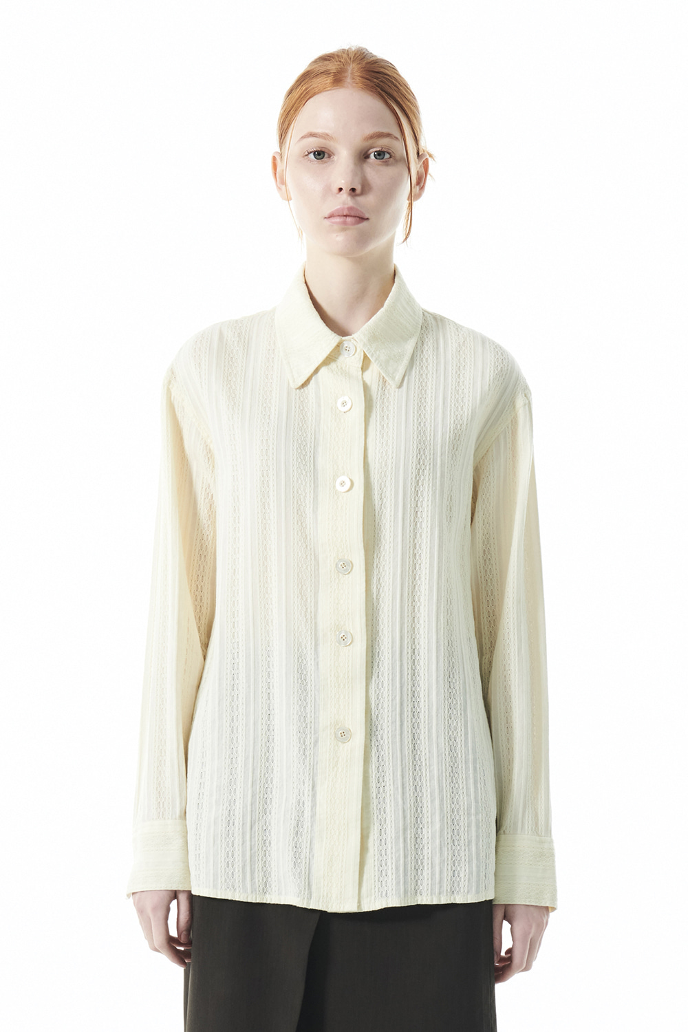 COTTON SHEER SHIRT KS [IVORY]